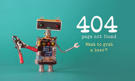 Página não encontrada da página do erro 404 Trabalhador amigável da manutenção do robô com alicates vermelhos, ampolas azuis verm Fotografia de Stock