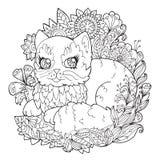 Página para colorear con el gatito Imagenes de archivo