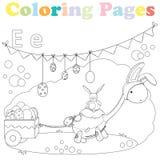 Página para crianças, grupo da coloração do alfabeto, letra E Foto de Stock