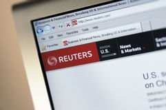 página principal do intenet de Reuters.com Imagem de Stock