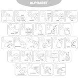 Página que colorea Alfabeto inglés con las imágenes y los títulos para la educación de los niños stock de ilustración