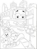 Página que colorea con el autobús y la ardilla ilustración del vector