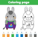 Página que colorea con el burro El dibujo embroma actividad Diversión imprimible de los niños Imagen de archivo libre de regalías