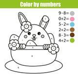 Página que colorea con el carácter del conejito de pascua Coloree por el juego educativo de los niños de la matemáticas de los nú Fotografía de archivo libre de regalías