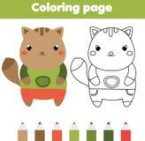 Página que colorea con el gato El dibujo embroma el juego Actividad imprimible Imagenes de archivo