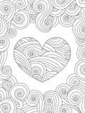 Página que colorea con el ornamento rizado del corazón y de la onda ilustración del vector
