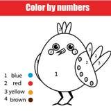 Página que colorea con el pájaro El color por el juego educativo de los niños de los números, dibujando embroma actividad Fotografía de archivo libre de regalías