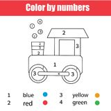 Página que colorea con el tren del juguete Color por números, hoja de trabajo imprimible Juego educativo para los niños, los niño Fotografía de archivo