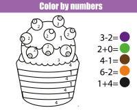 Página que colorea con la magdalena El color por el juego educativo de los niños de los números, dibujando embroma actividad Jueg stock de ilustración