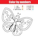Página que colorea con la mariposa El color por el juego educativo de los niños de los números, dibujando embroma actividad Fotos de archivo libres de regalías