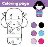 Página que colorea con la muñeca japonesa linda del kokeshi Juego educativo de los niños, actividad de dibujo Fotografía de archivo