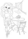 Página que colorea con la muchacha de la moda Imagen de archivo libre de regalías
