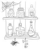 Página que colorea con la poción mágica ilustración del vector