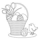 Página que colorea con los huevos y el polluelo de Pascua de la historieta ilustración del vector