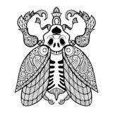 Página que colorea del insecto con el cráneo libre illustration