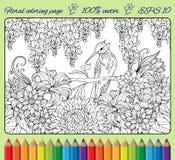 Página que colorea del pájaro en una rama en jardín Foto de archivo