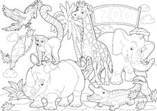 Página que colorea - el parque zoológico - ejemplo para los niños ilustración del vector
