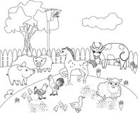 Página que colorea Paisaje rural con diversos animales del campo stock de ilustración