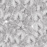 Página que colorea para el libro de colorear adulto Fondo inconsútil hojas de palma, blancos y negros stock de ilustración