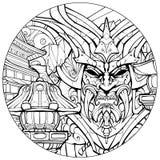 Página que colorea para la máscara siniestra del samurai de los adultos stock de ilustración