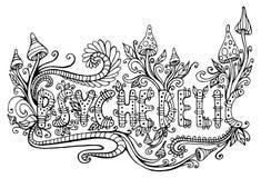 Página que colorea para los adultos con la palabra psicodélica Letras del garabato libre illustration