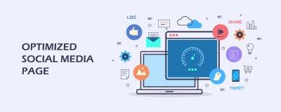 Página social optimizada de los medios - establecimiento de una red social - concepto de la optimización del contenido digital Ba stock de ilustración