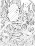Página subacuática del libro de colorear de la vanidad Imagenes de archivo