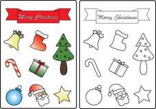 Página temática del libro de colorear de la Navidad ilustración del vector