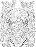 Página tirada mão da coloração do crânio para adultos Imagens de Stock