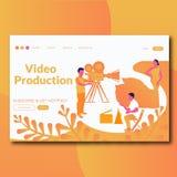 Página video da aterrissagem da ilustração da produção do estilo liso video da produção ilustração do vetor