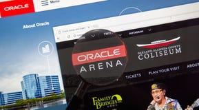 Página web de la arena de Oracle imagen de archivo libre de regalías