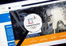 Página web del funcionario del comité olímpico internacional Fotos de archivo libres de regalías