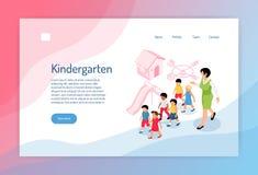 Página web isométrica de la guardería stock de ilustración