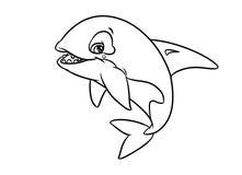 Páginas alegres da coloração da ilustração da orca Fotos de Stock