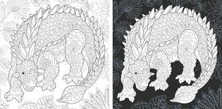 Páginas colorindo com Ankylosaurus ilustração do vetor