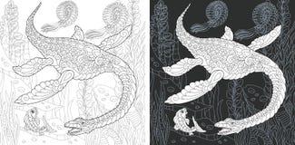 Páginas colorindo com Plesiosaurus ilustração do vetor