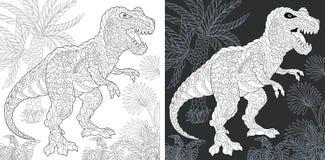 Páginas colorindo com rex do tiranossauro ilustração royalty free