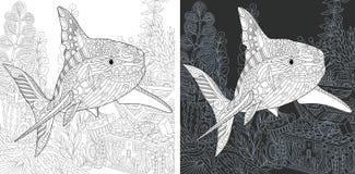 Páginas colorindo com tubarão ilustração stock