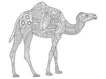 Páginas colorindo tiradas mão com camelo, ilustração do zentangle para anti livros para colorir adultos do esforço ou tatuagens c ilustração stock