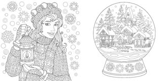 Páginas da coloração Livro para colorir para adultos Imagens colorindo com menina do inverno e a bola de cristal da neve Esboço a ilustração stock