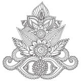 Páginas da coloração para adultos Elementos de Henna Mehndi Doodles Abstract Floral Imagens de Stock
