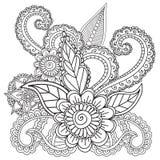 Páginas da coloração para adultos Elementos de Henna Mehndi Doodles Abstract Floral Imagens de Stock Royalty Free