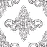 Páginas da coloração para adultos Elementos de Seamles Henna Mehndi Doodles Abstract Floral Imagem de Stock