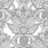 Páginas da coloração para adultos Elementos de Seamles Henna Mehndi Doodles Abstract Floral Fotos de Stock