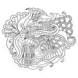 Páginas da coloração para adultos Mão decorativa do vetor decorativo da onda da natureza da garatuja teste padrão esboçado tirado Imagem de Stock