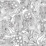 Páginas da coloração para adultos Mão decorativa do vetor decorativo da onda da natureza da garatuja teste padrão sem emenda esbo Fotos de Stock Royalty Free