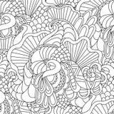 Páginas da coloração para adultos Mão decorativa do vetor decorativo da onda da natureza da garatuja teste padrão sem emenda esbo Foto de Stock Royalty Free