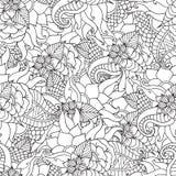 Páginas da coloração para adultos Mão decorativa do vetor decorativo da onda da natureza da garatuja teste padrão sem emenda esbo Imagem de Stock Royalty Free