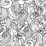 Páginas da coloração para adultos Mão decorativa do vetor decorativo da onda da natureza da garatuja teste padrão sem emenda esbo Imagem de Stock