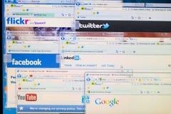 Páginas de internet sociales de la red Imágenes de archivo libres de regalías